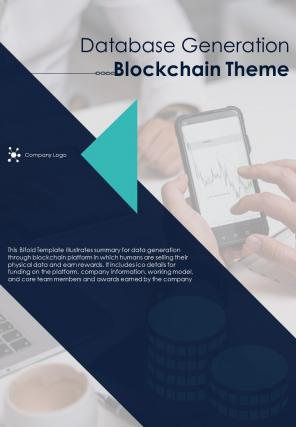 Bi Fold Database Generation Blockchain Theme Document Report PDF PPT Template