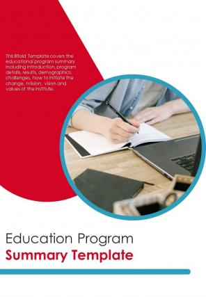 Bi Fold Education Program Summary Document Report PDF PPT Template