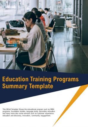 Bi Fold Education Training Programs Summary Document Report PDF PPT Template