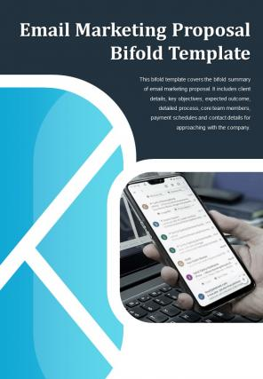 Bi Fold Email Marketing Proposal Template Document Report PDF PPT One Pager