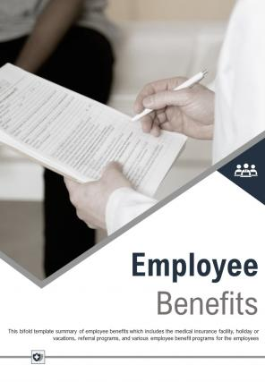 Bi Fold Employee Benefits Document Report PDF PPT Template