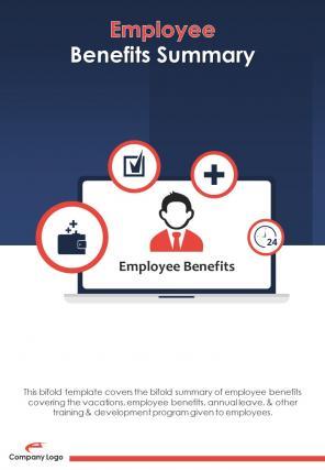 Bi Fold Employee Benefits Summary Document Report PDF PPT Template