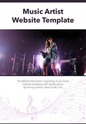Bi Fold Music Artist Website Document Report PDF PPT Template