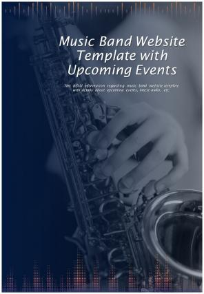 Bi Fold Music Band Website With Upcoming Events Document Report PDF PPT Template