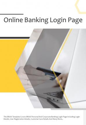 Bi Fold Online Banking Login Page Document Report PDF PPT Template