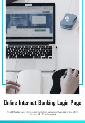 Bi Fold Online Internet Banking Login Page Document Report PDF PPT Template