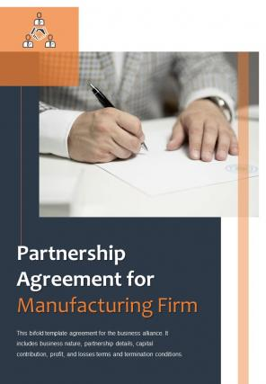 Bi Fold Partnership Agreement For Manufacturing Firm Document Report PDF PPT Template