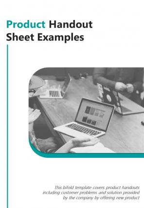 Bi Fold Product Handout Sheet Examples Document Report PDF PPT Template