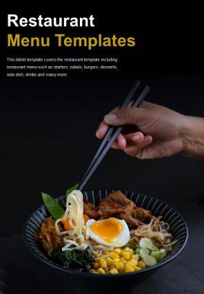 Bi Fold Restaurant Menu Templates Document Report PDF PPT One Pager