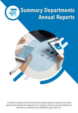 Bi Fold Summary Departments Annual Document Report PDF PPT Template