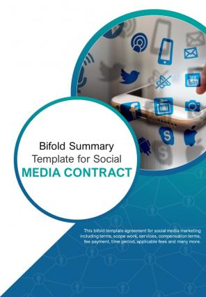 Bi Fold Summary Template For Social Media Contract Document Report PDF PPT One Pager