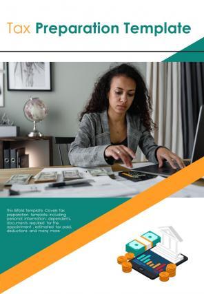Bi Fold Tax Preparation Document Report PDF PPT Template