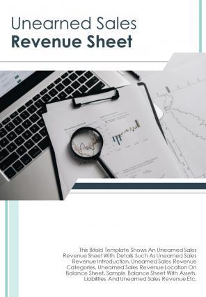 Bi Fold Unearned Sales Revenue Sheet Document Report PDF PPT Template