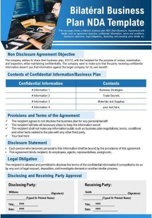 Bilateral Business Plan Nda Template Presentation Report Infographic PPT PDF Document