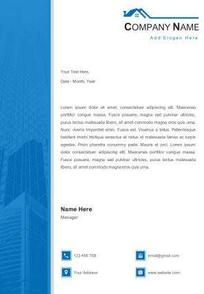 Building Construction And Real Estate Letterhead Design Template
