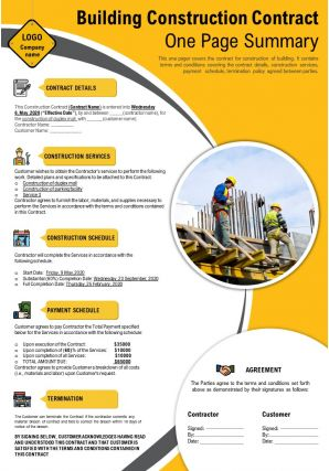 Building Construction Contract One Page Summary Presentation Report Infographic PPT PDF Document