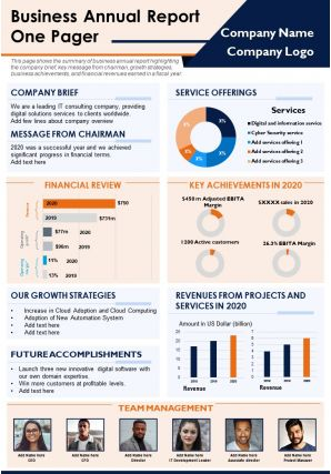 Business Annual Report One Pager Presentation Report Infographic PPT PDF Document
