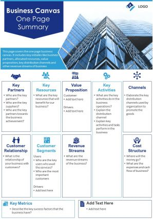 Business Canvas One Page Summary Presentation Report Infographic PPT PDF Document