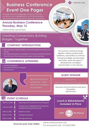Business Conference Event One Pager Presentation Report Infographic PPT PDF Document