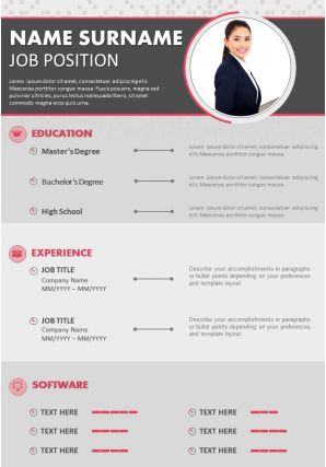 Business CV Resume Sample Editable With Experience Software Skills