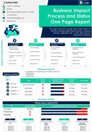 Business Impact Process And Status One Page Report Presentation Report Infographic PPT PDF Document