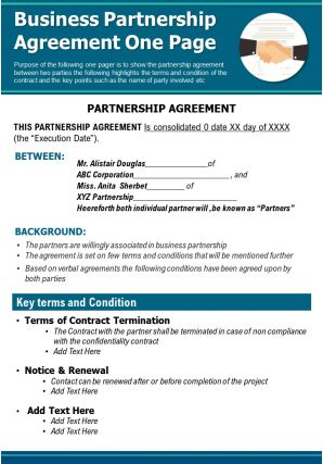 Business Partnership Agreement One Page Presentation Report Infographic PPT PDF Document