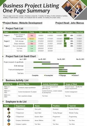 Business Project Listing One Page Summary Presentation Report Infographic PPT PDF Document