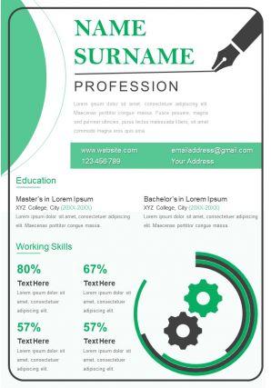 Business Resume Powerpoint Template Editable CV Design