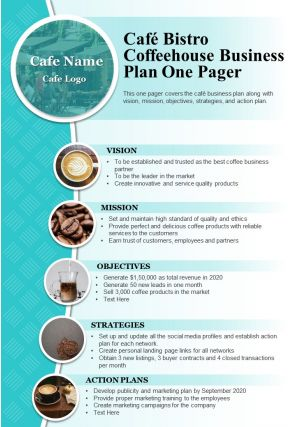 Cafe Bistro Coffeehouse Business Plan One Pager Presentation Report Infographic PPT PDF Document