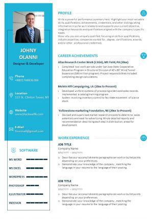 Career Summary Sample Resume Template For Designer And Developer