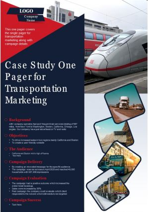 Case Study One Pager For Transportation Marketing Presentation Report Infographic PPT PDF Document
