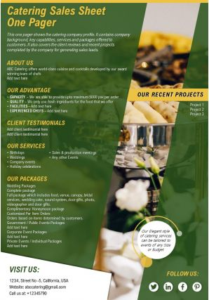 Catering Sales Sheet One Pager Presentation Report Infographic PPT PDF Document