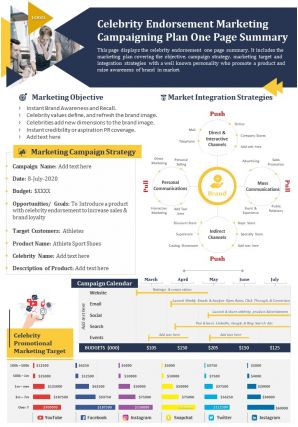 Celebrity Endorsement Marketing Campaigning Plan One Page Summary Presentation Report Infographic PPT PDF Document