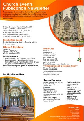 Church Events Publication Newsletter Presentation Report Infographic PPT PDF Document