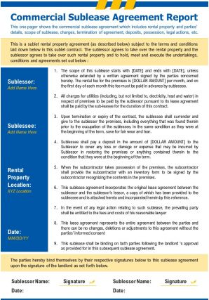 Commercial Sublease Agreement Report Presentation Report Infographic PPT PDF Document