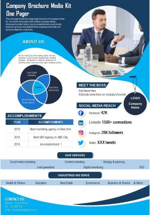 Company Brochure Media Kit One Pager Presentation Report Infographic PPT PDF Document