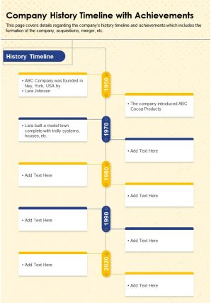 Company History Timeline With Achievements Presentation Report Infographic PPT PDF Document