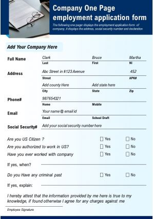 Company One Page Employment Application Form Presentation Report Infographic PPT PDF Document