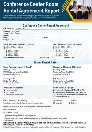 Conference Center Room Rental Agreement Report Presentation Report PPT PDF Document