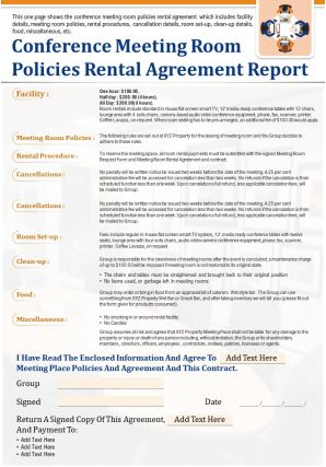 Conference Meeting Room Policies Rental Agreement Report Presentation PPT PDF Document