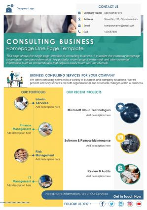 Consulting Business Homepage One Page Template Presentation Report Infographic PPT PDF Document