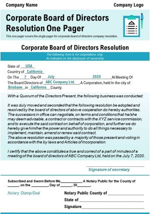Corporate Board Of Directors Resolution One Pager Presentation Report Infographic PPT PDF Document