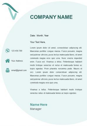 Corporate Company One Page Letterhead Design Template