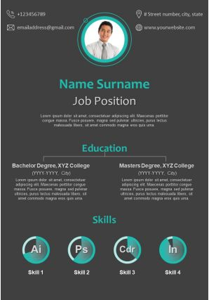 Corporate Resume Design With Creative Design Infographic Resume