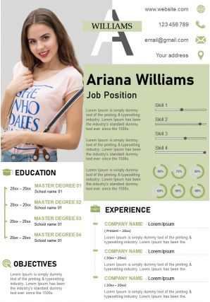Creative Curriculum Vitae Business Resume A4 Template