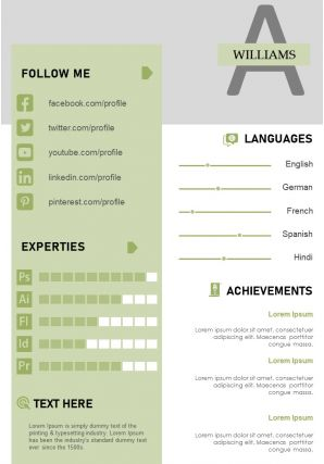 Creative Curriculum Vitae Business Resume A4 Template