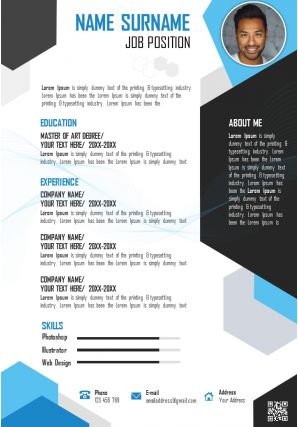 Creative CV Layout Resume Template For Job Application