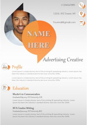 Creative Director Advertising Sample Resume Template