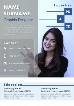 Creative Resume Template For Professionals Visual CV A4 Size