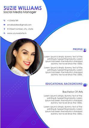 Creative Resume Template For Social Media Manager CV Sample